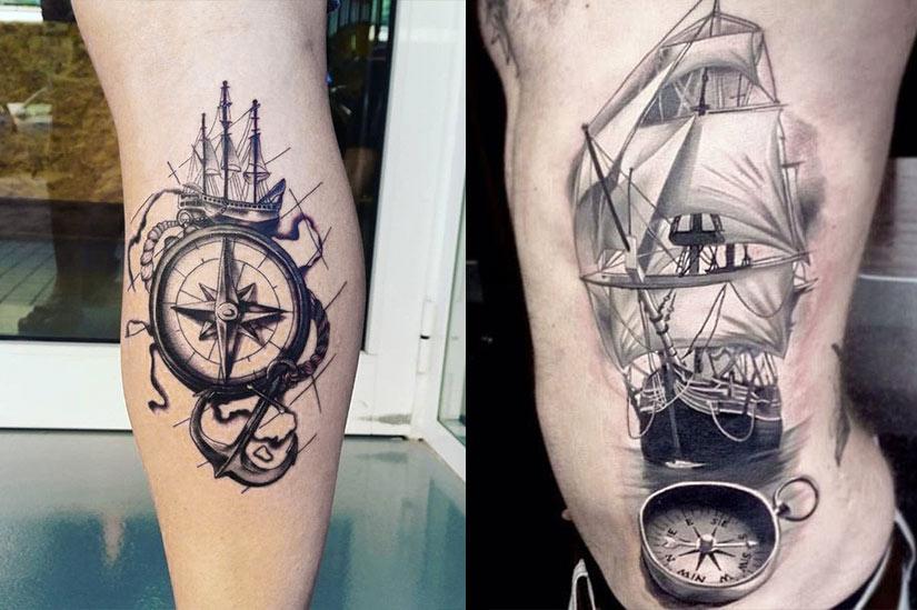 Тату корабль, якорь, компас