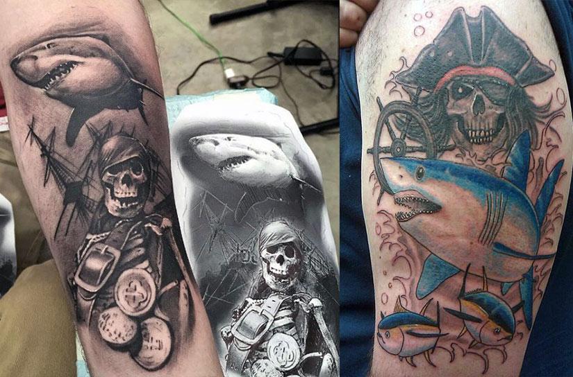 Татуировка акулы и пиратов