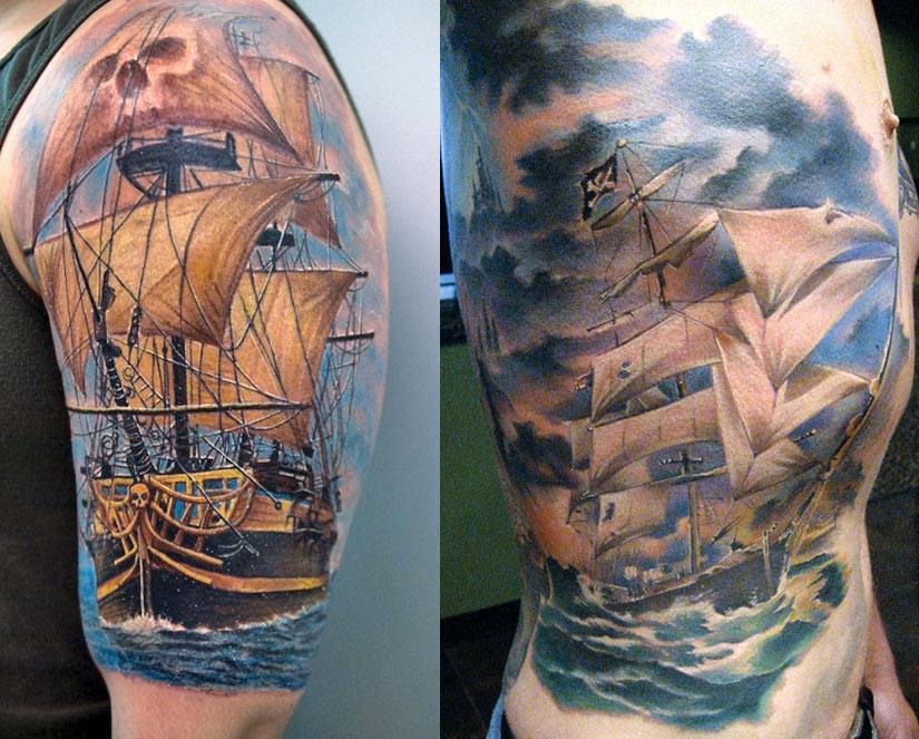 Тату пиратского корабля с парусами белого цвета