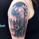 Тату ромашки со слоном