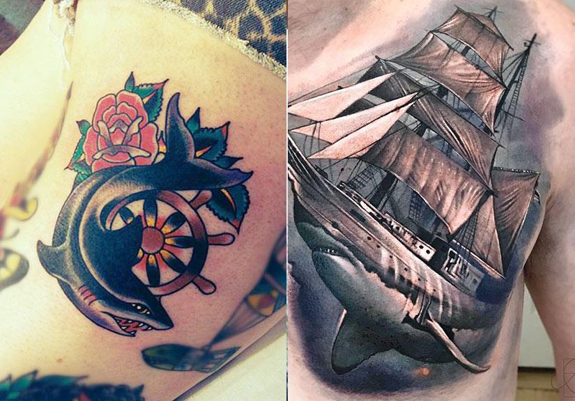 Татуировка акулы с штурвалом