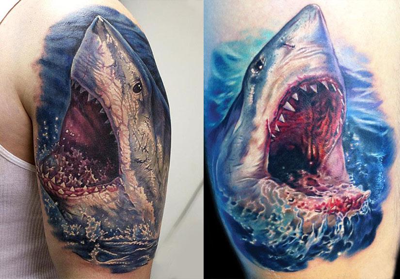 Тату с акулы с открытой пастью