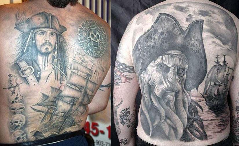 Тату с кораблем Пираты карибского моря