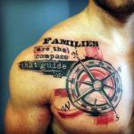Татуировка треш полька с компасом