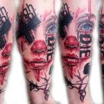 Татуировка треш полька с лицом девушки