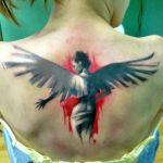 Татуировка треш полька с ангелом