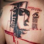 Татуировка треш полька с портретом девушки