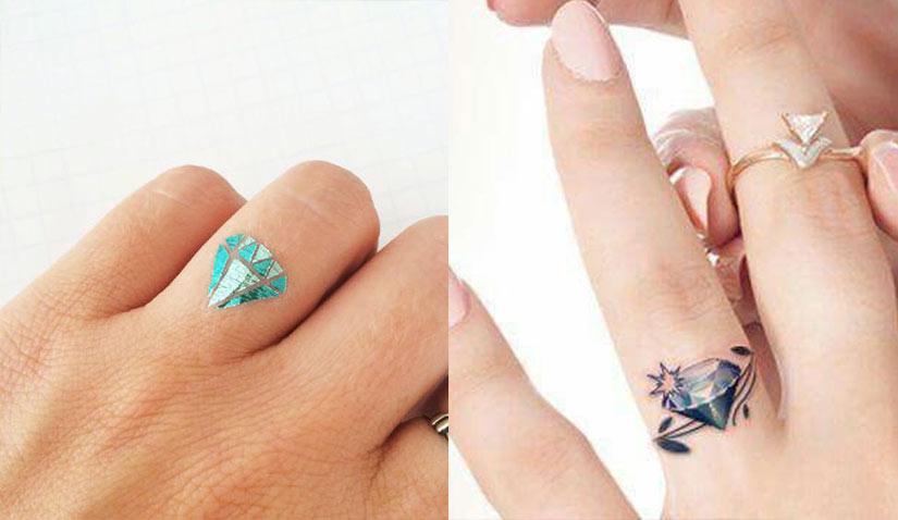 Татуировка алмаз на пальце