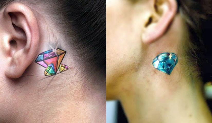 Тату алмаз за ухом