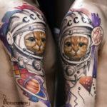 Татуировка кота космонавта