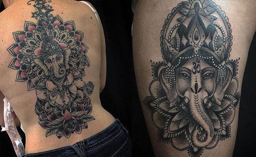 Татуировка слон и мандала