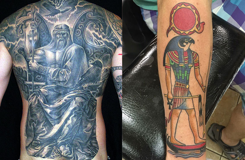 Татуировки с богом Одином и богом Ра