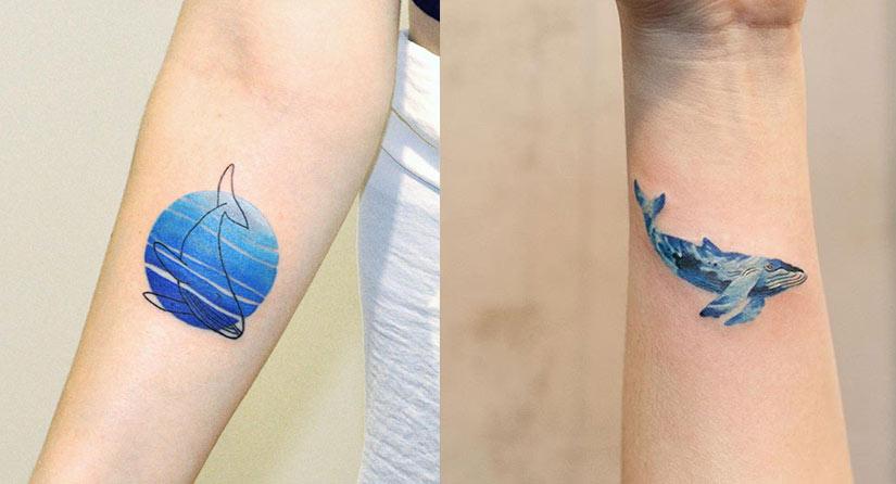 Татуировки с китом на запястье и предплечье