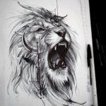 Набросок льва для тату