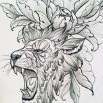 Современный тату эскиз льва