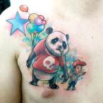 Тату панды в мультяшном стиле