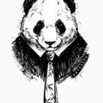 Черно белая панда в галстуке