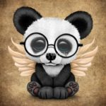 Панда в очках, скрыльями