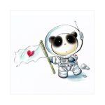 Панда космонавт с флагом