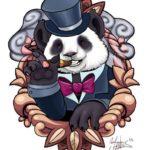 Панда в шляпе в стине олдскул