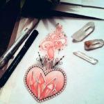 Эскиз тату с кристаллом в виде сердечка