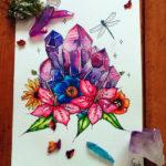 Великолепный эскиз тату с цветами и кристаллами