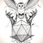 Эскиз кристалла и совы с когтями