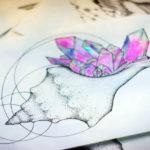 Эскиз тату кристаллов в раковине
