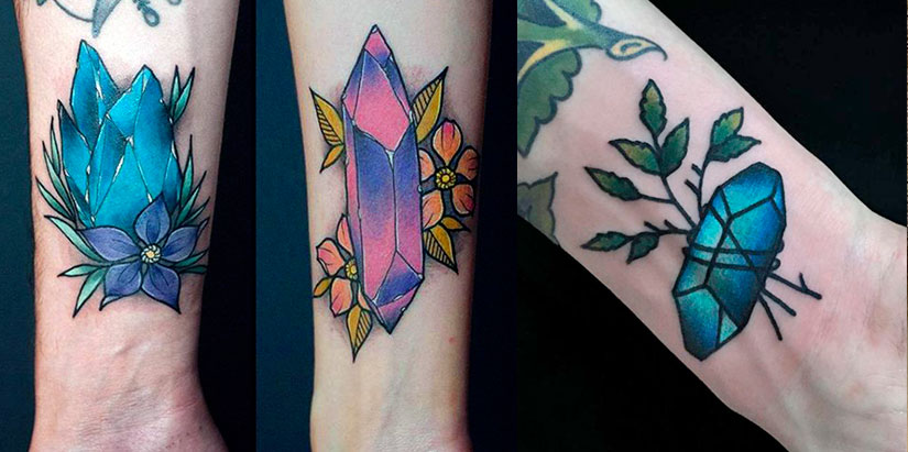 Татуировка кристалла на запястье
