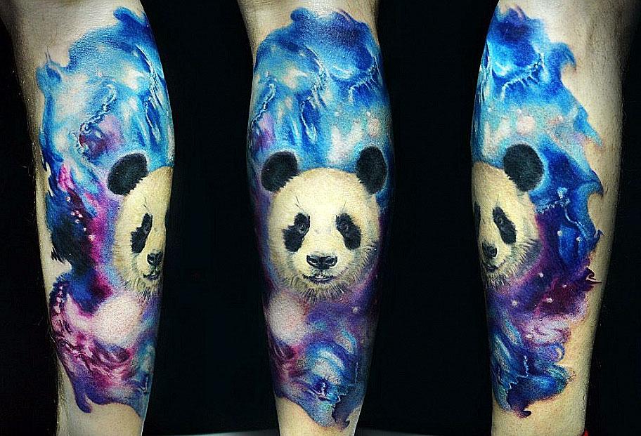 Татуировки панды стиле акварель