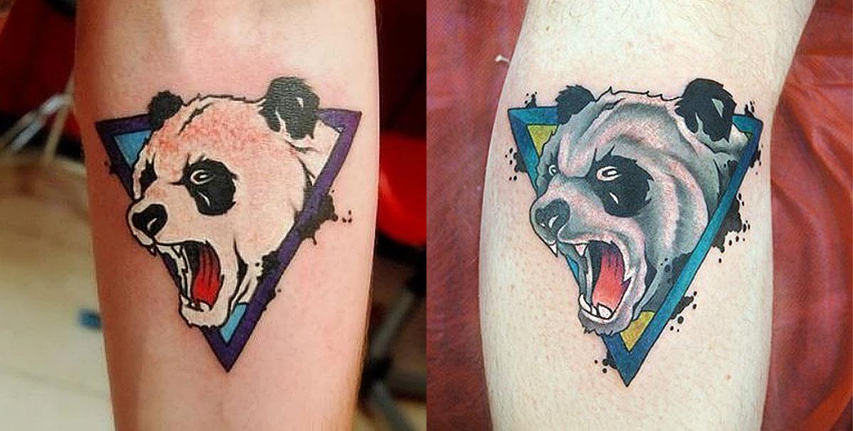 Татуировки панды в треугольнике