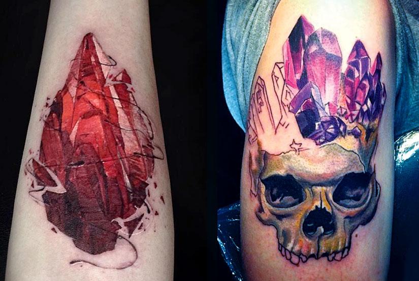 Кристаллы рубина и аметиста с черепом