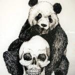 Эскиз тату панды с черепом