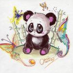 Милый эскиз панды для девушек