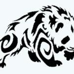Эскиз тату панды в стиле трайбл