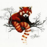 Эскиз тату красная панда на ветвях