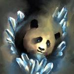 Эскиз тату панды с кристаллами