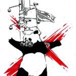 Эскиз тату панды в стиле треш полька