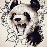 Эскиз тату панды с оскалом