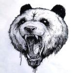 Эскиз злой тату панды