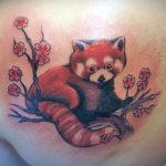 Тату красной панды с цветами