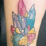 Тату с кристаллами и бриллиантами разного цвета