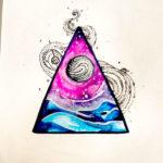 Эскиз тату космос, треугольник