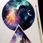 Эскиз тату космос в круге и треугольнике