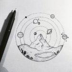 Эскиз тату солнечная система