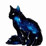 Эскиз тату космос внутри силуэта кошки