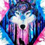 Эскиз татуировки морда волка с галактикой