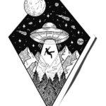 Эскиз тату космоса в ромбе