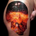 Череп с красным космосом