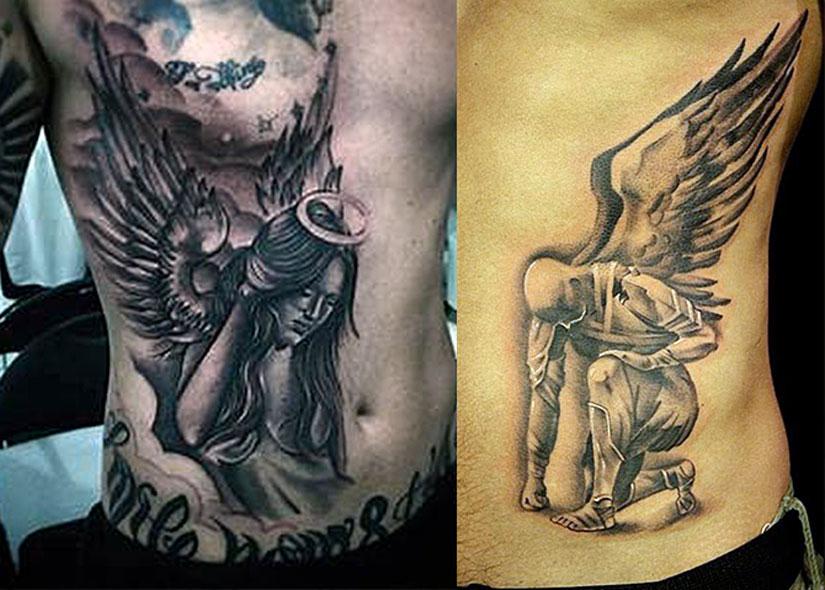 Ангелы с крыльями, большие татуировки